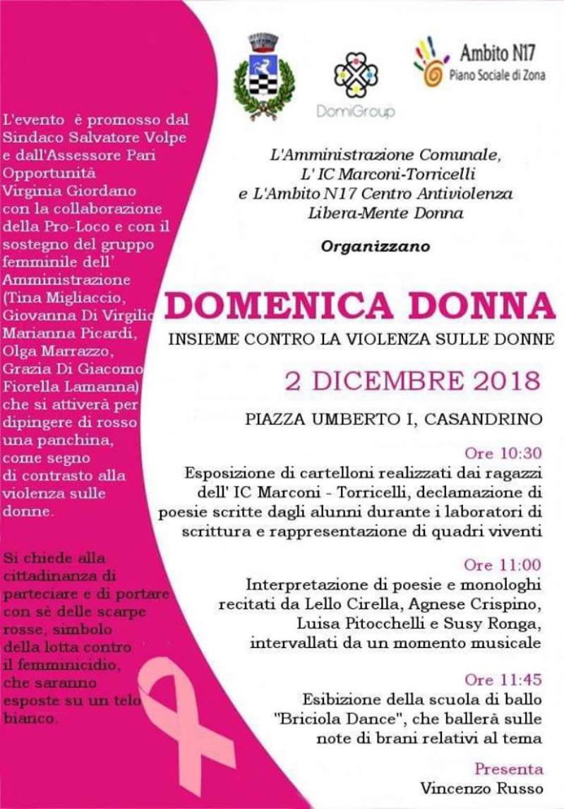 Domenica Donna stop alla violenza sulle donne